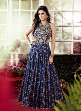 1048cade807 Blue designer Indowestern sleeveless party wear gown in silk ...