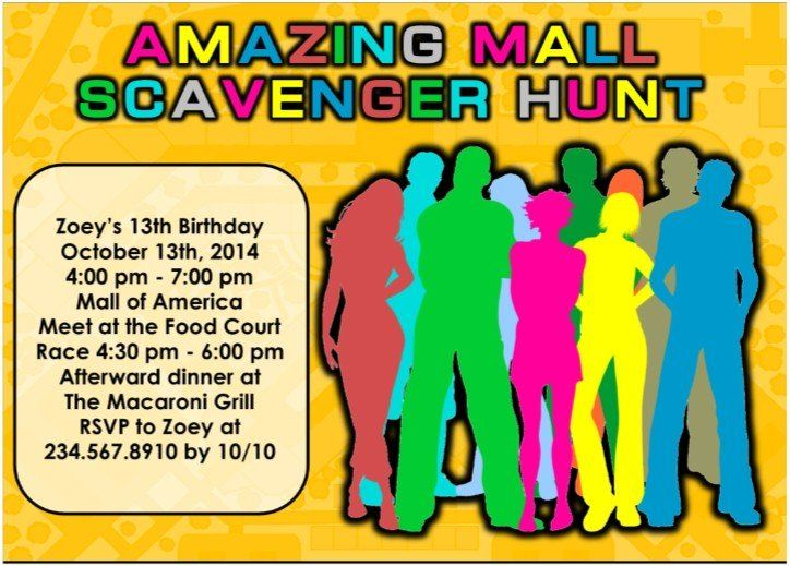 Printable mall scavenger hunt party kit jesslyns birthday ideas the ultimate mall scavenger hunt party kit comes with editable scavenger list invitations and team badges perfect for your teen mall party filmwisefo Images