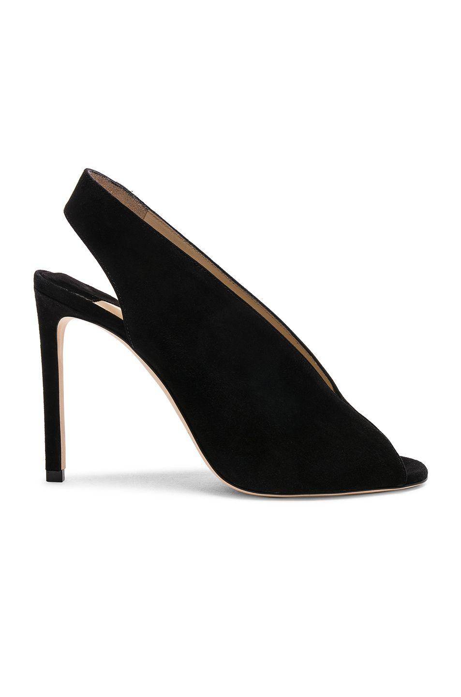 Shar 85 Peep Toe Suede Slingback Sandals In Black Heels Jimmy Choo Suede Heels