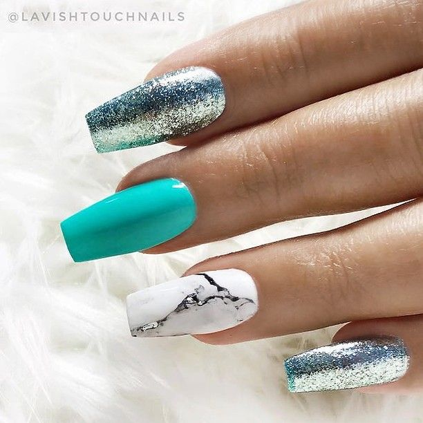 Repost Turquoise White Marble And Glitter On Coffin Nails Picture And Nail Design By Coffin Nails Designs Turquoise Nails Trendy Nails