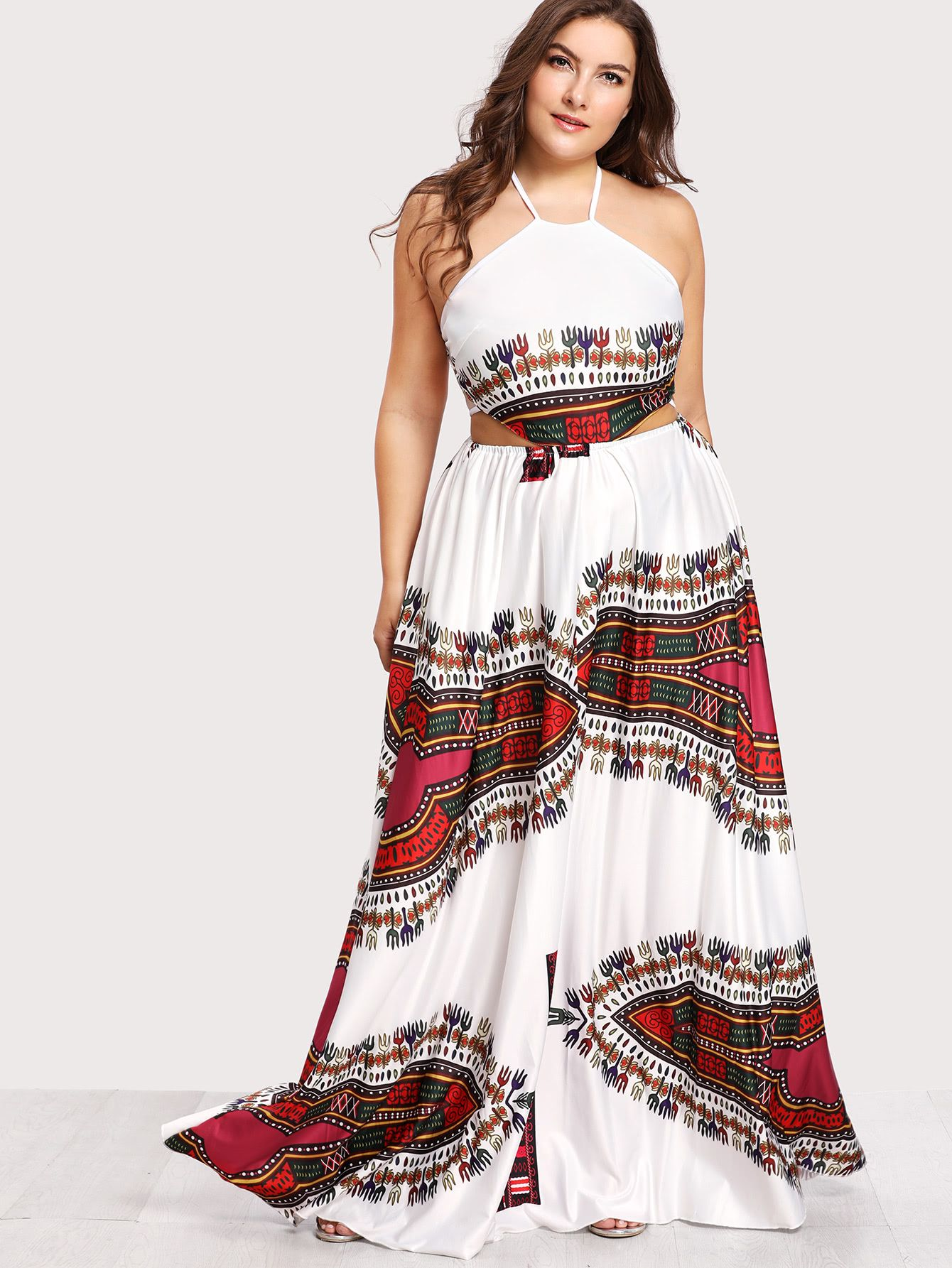 085703ae8f087 Shop Ornate Print Lace Up Backless Dress online. SheIn offers Ornate Print  Lace Up Backless Dress   more to fit your fashionable needs.