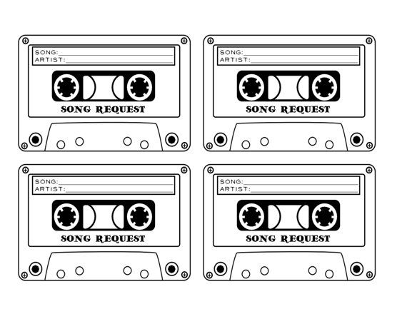 cassette tape song request wedding rsvp card printable digital