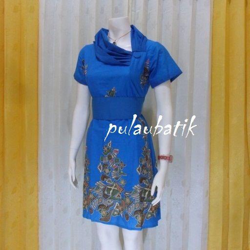 Baju wanita dress batik warna biru model pramugari yang sering dipakai oleh  kru maskapai penerbangan 51a88bda66