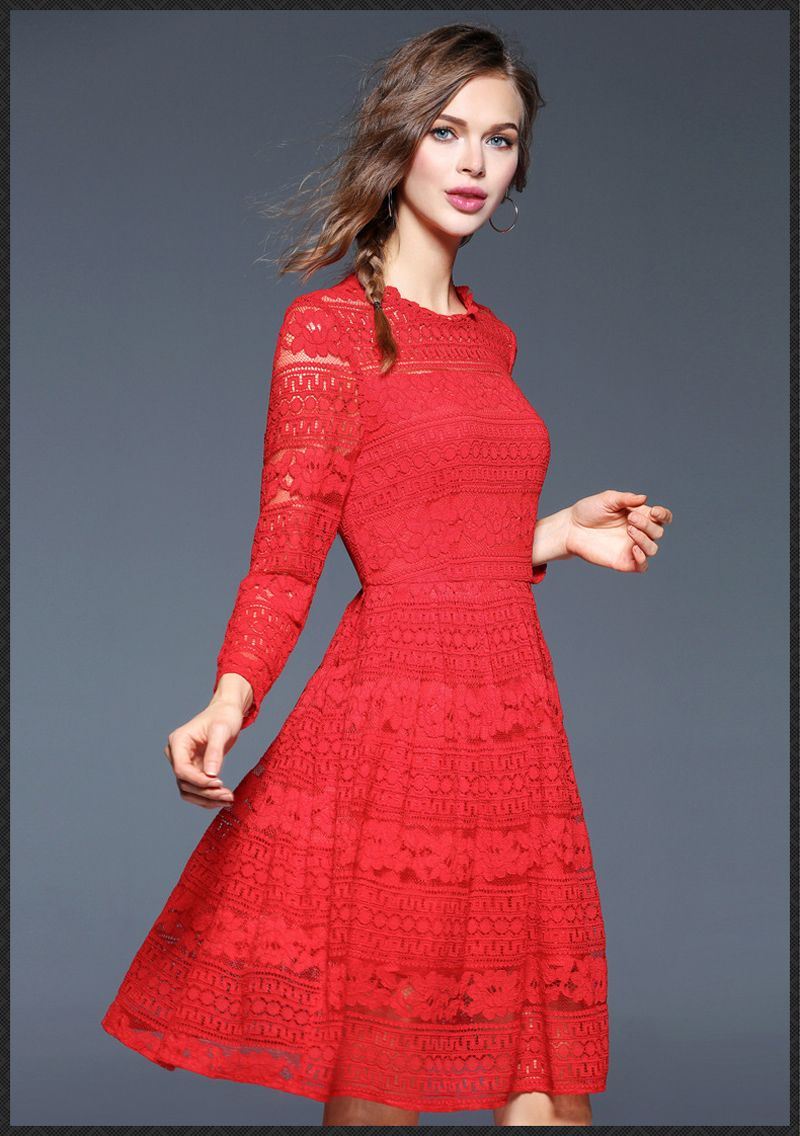 women red lace dress long sleeve a line dress above knee length