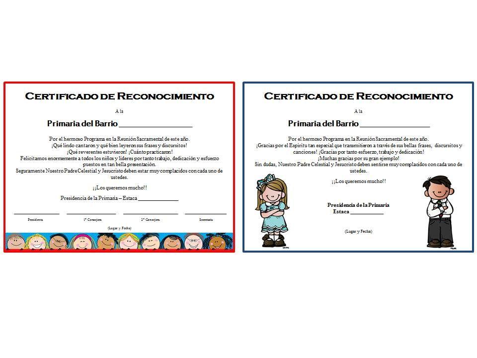 Certificados de Reconocimiento para Programas de la Primaria (A ...