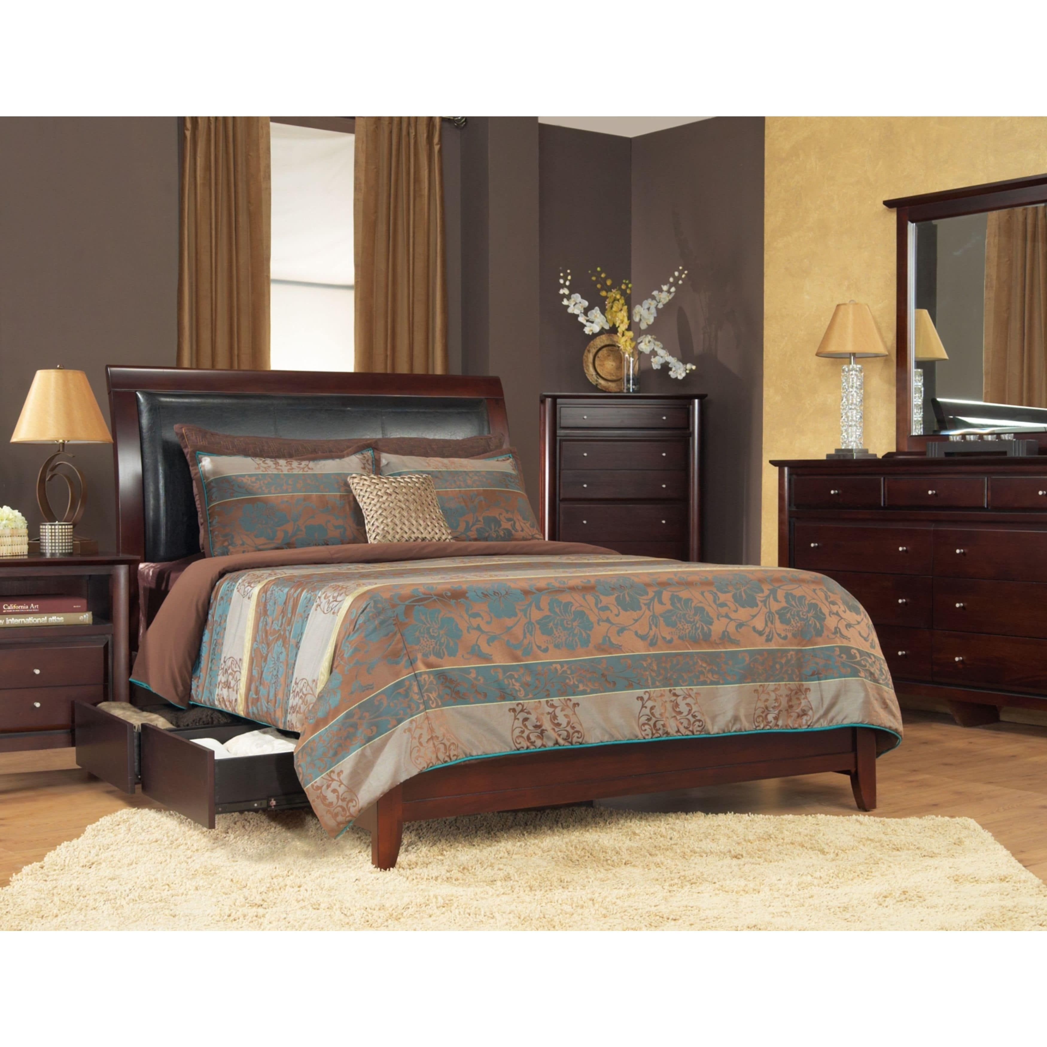 Domusindo padded synthetic leather storage bed in coco full brown