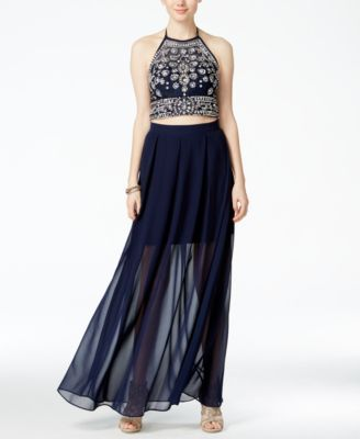 42554bac440 B Darlin Juniors  Embellished Halter Two-Piece Dress