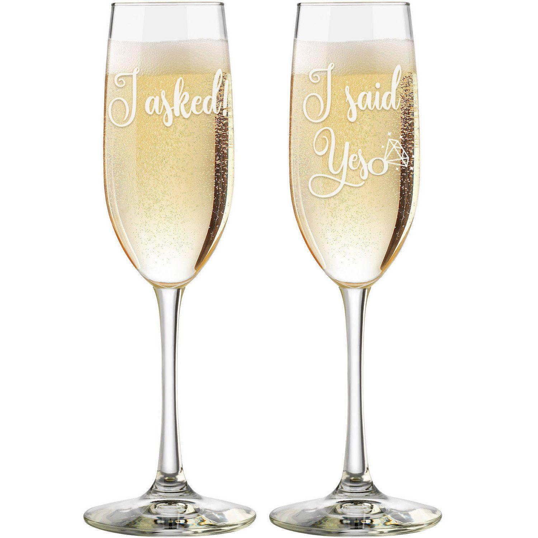 I asked i said yes personalized champagne glasses custom