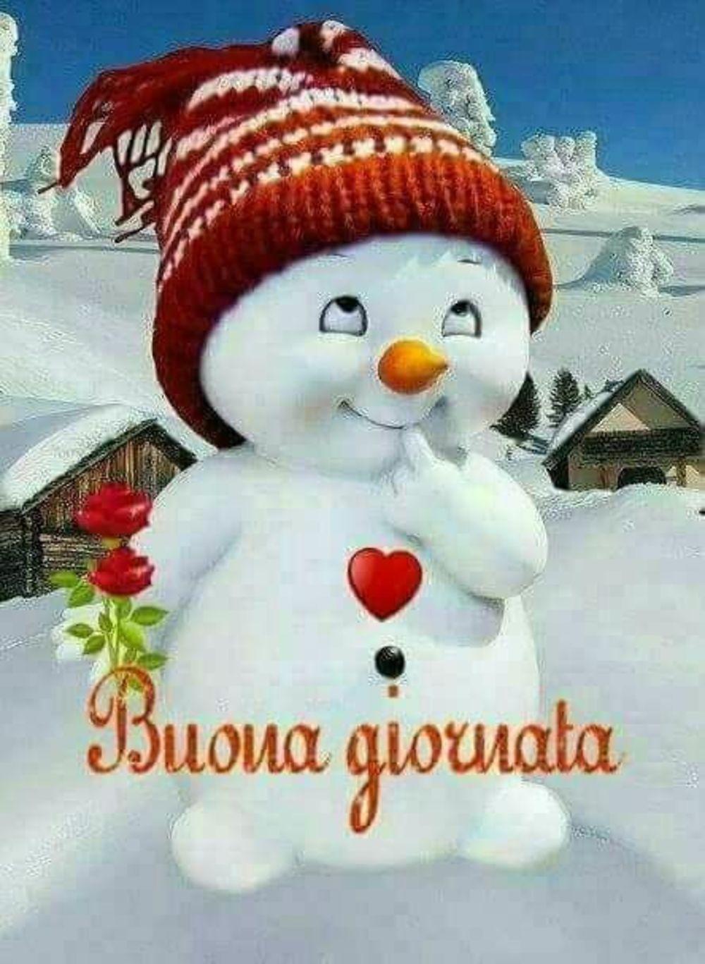 Foto Buongiorno Con La Neve.Buona Giornata Pupazzo Di Neve Cute Cards Good Morning Christmas Time