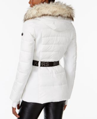 4718f46064 Michael Michael Kors Active Faux-Fur-Trim Belted Puffer Coat - White ...
