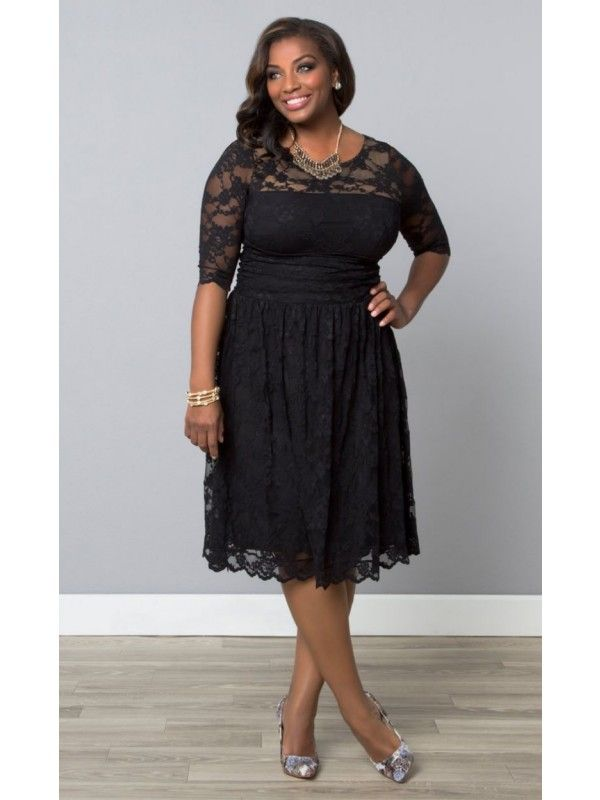 Sweet Luna Lace Dress, Black by Kiyonna | Plus size lace ...