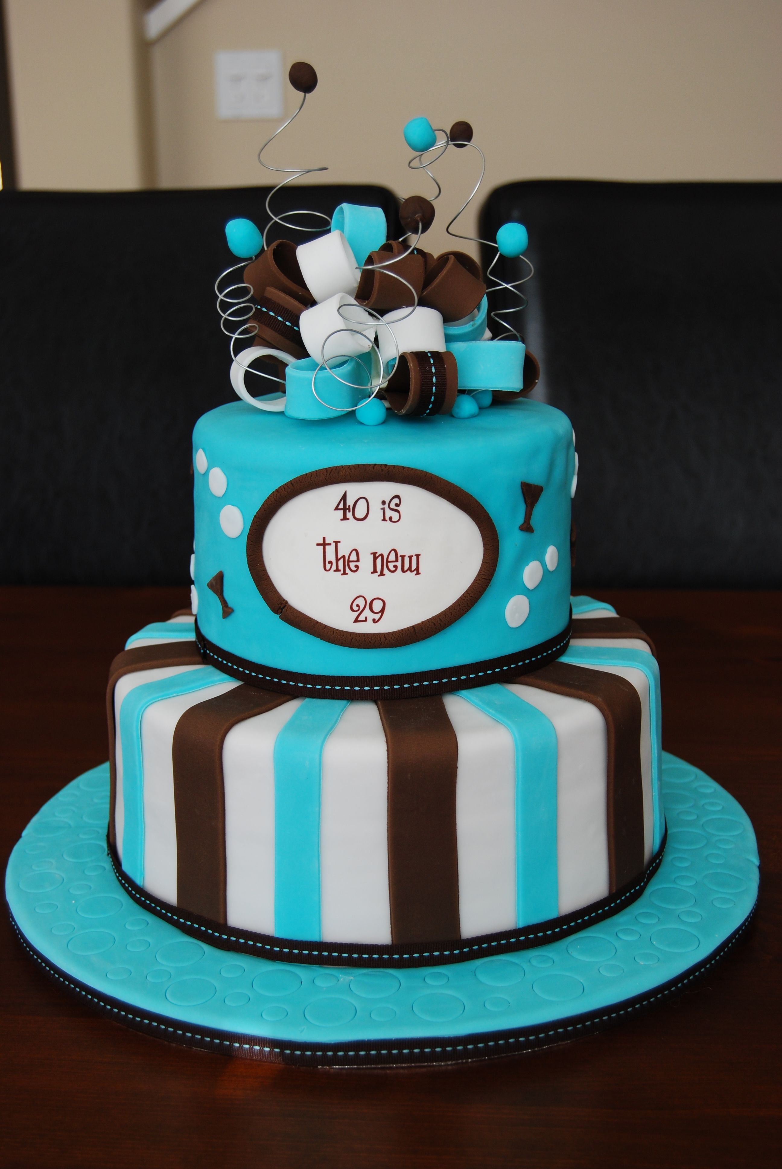 40th Birthday cake - wires on top and patterning on base. | My ...