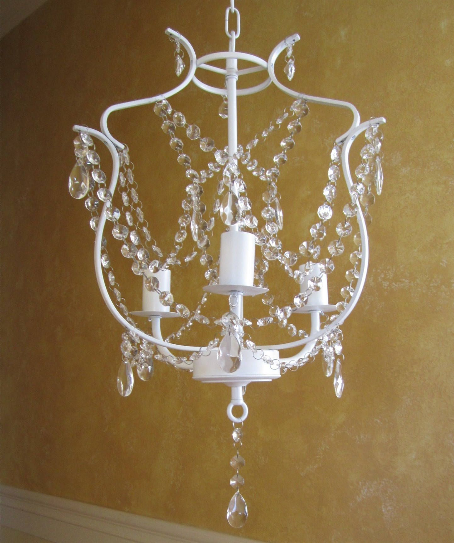 WHITE Hanging CHANDELIER CANDLE Holder Oak 3 arm White with