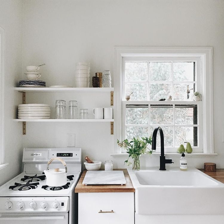 cute clean white kitchen butcher block counter top. Black Bedroom Furniture Sets. Home Design Ideas