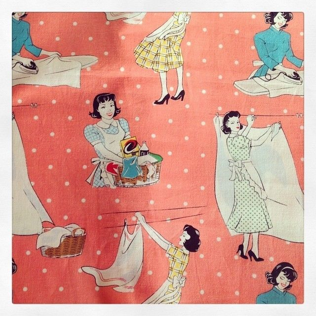 Retro Laundry Day Coral Quilt Fabric By Michael Miller Out