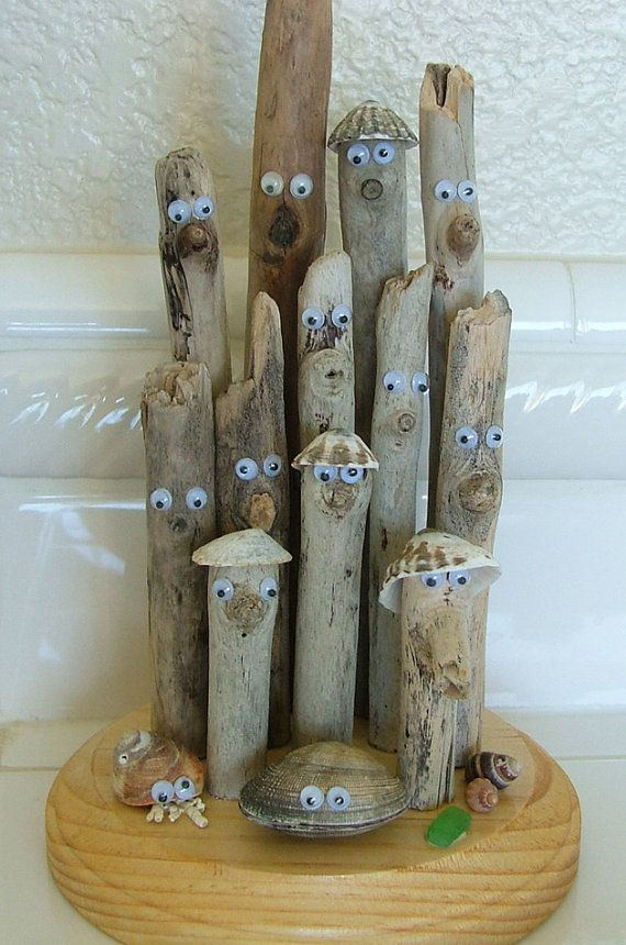 Items similar to Humorous Comical Driftwood Sculpture for your beach house on Etsy