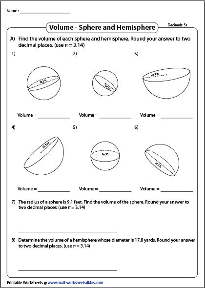 Volume Of A Sphere Worksheets Volume Sphere Composite Shapes