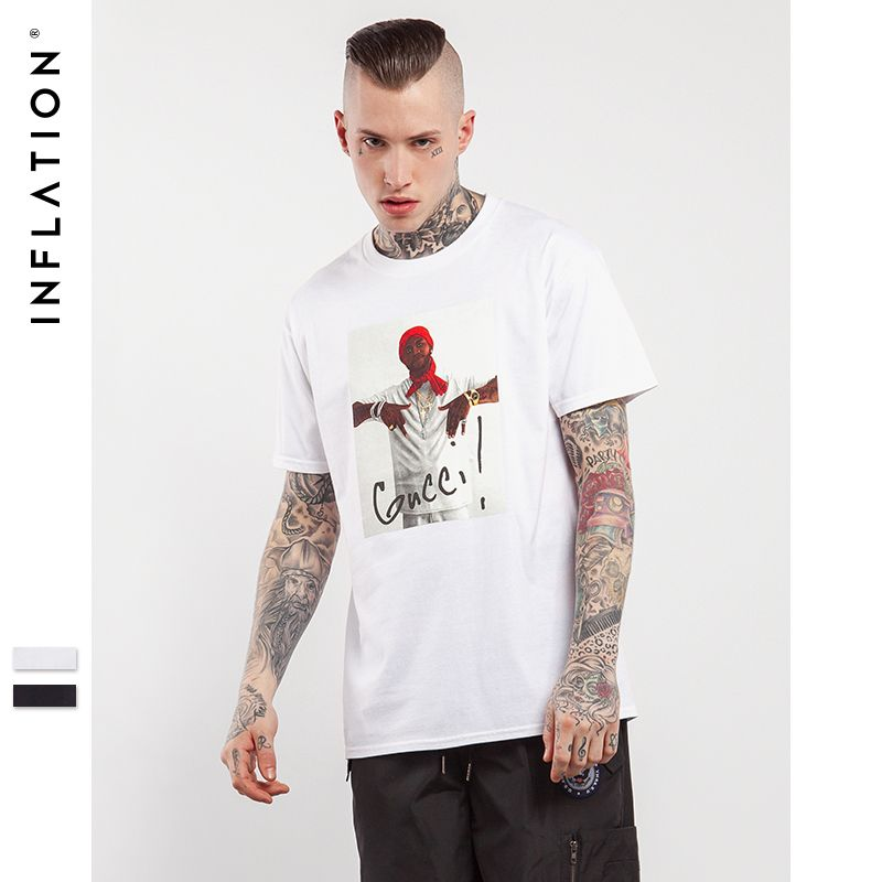 db6b9f34a INFLATION 2017 Mens Hip Hop Men Streetwear Top Tees Casual Cotton T Shirt  Hip Hop Graphic Tees For Men