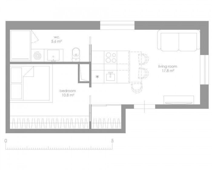 Cuisine astucieuse dans un appartement de 34m2 petits appartements appartements et plans