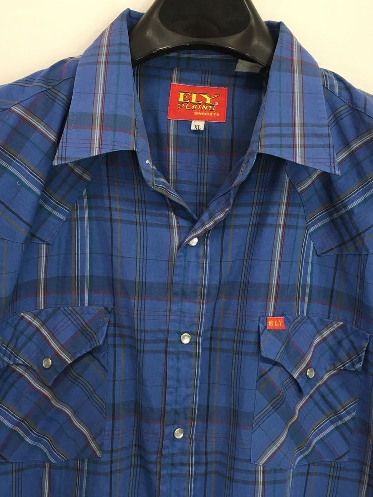 243e024738 VINTAGE MENS XL ELY CATTLEMAN WESTERN SHIRT BLUE PLAID WESTERN PEARL-SNAP  COWBOY  ElyCattleman  Western