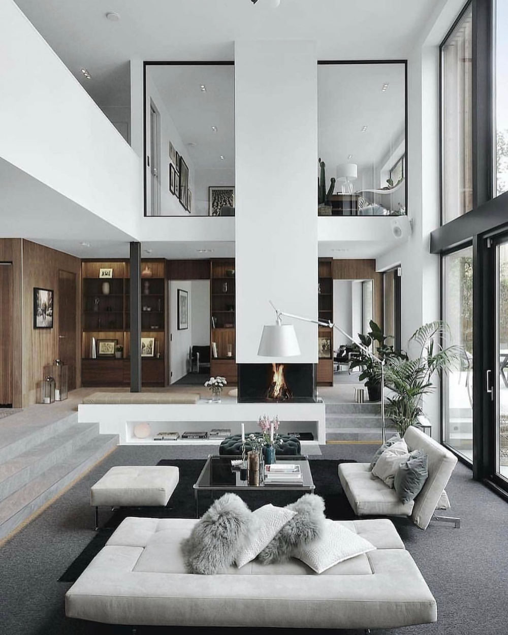 Double Height Space Design Google Search Modern Houses Interior Modern House Design Minimalism Interior