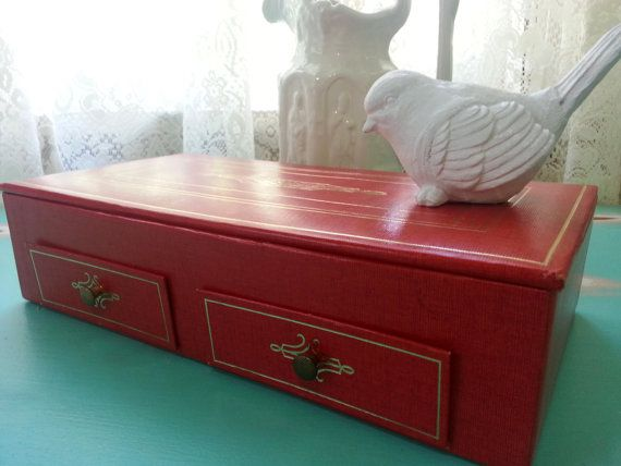 Vintage Red Canvas and Leather Jewelry Box by ClayStreetBoutique, $18.00
