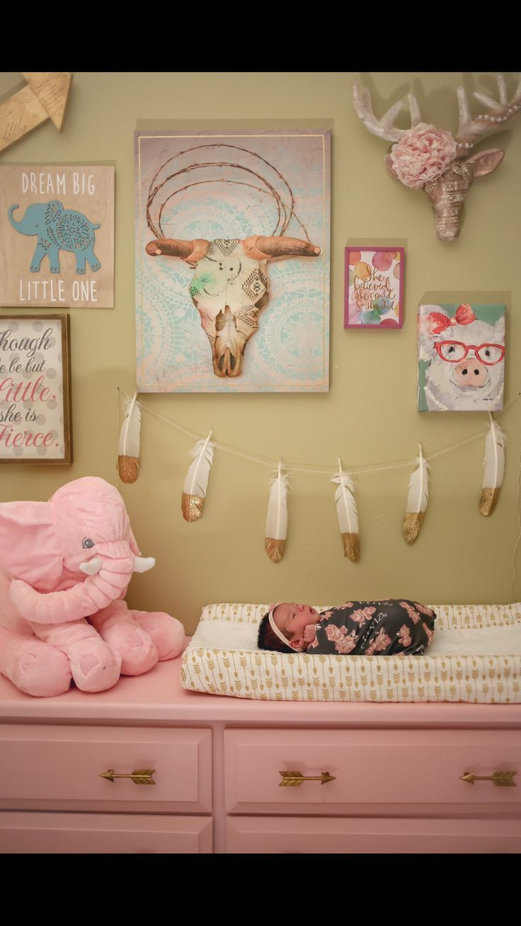 Adorable baby girls nursery gallery wall. The elements here are so ...