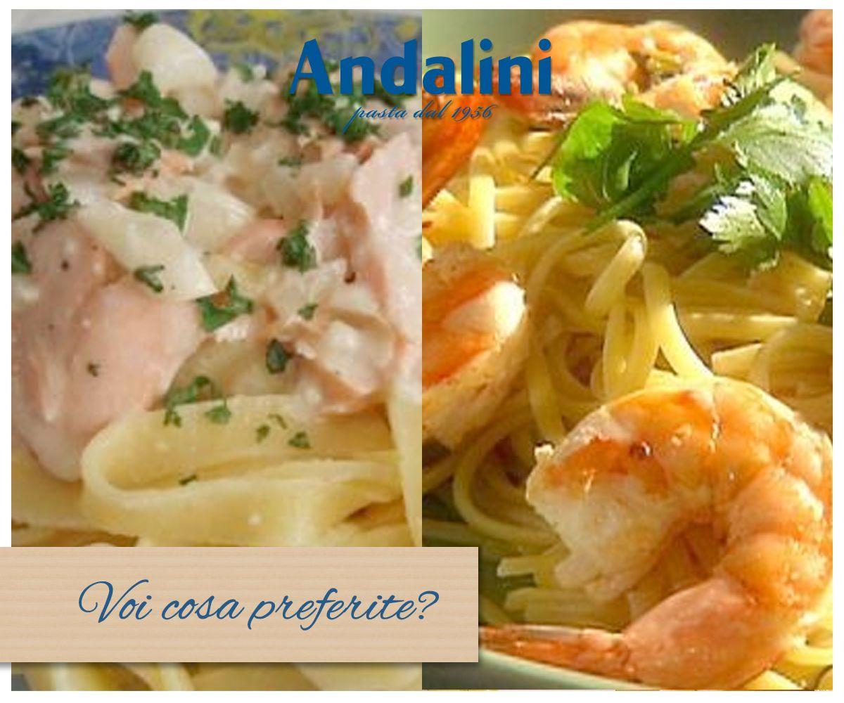 Per un primo a base di pesce preferite #tagliolini al #salmone o #spaghetti ai #gamberi?  Per noi sono entrambi deliziosi!  www.andalini.it