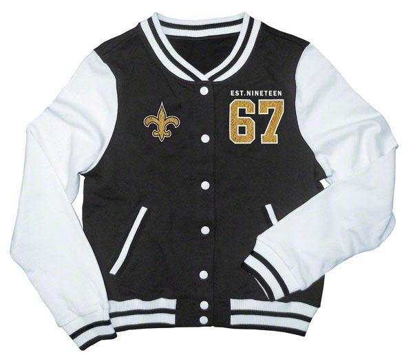 4727186a New Orleans Saints Women's Black French Terry Varsity Jacket   Must ...