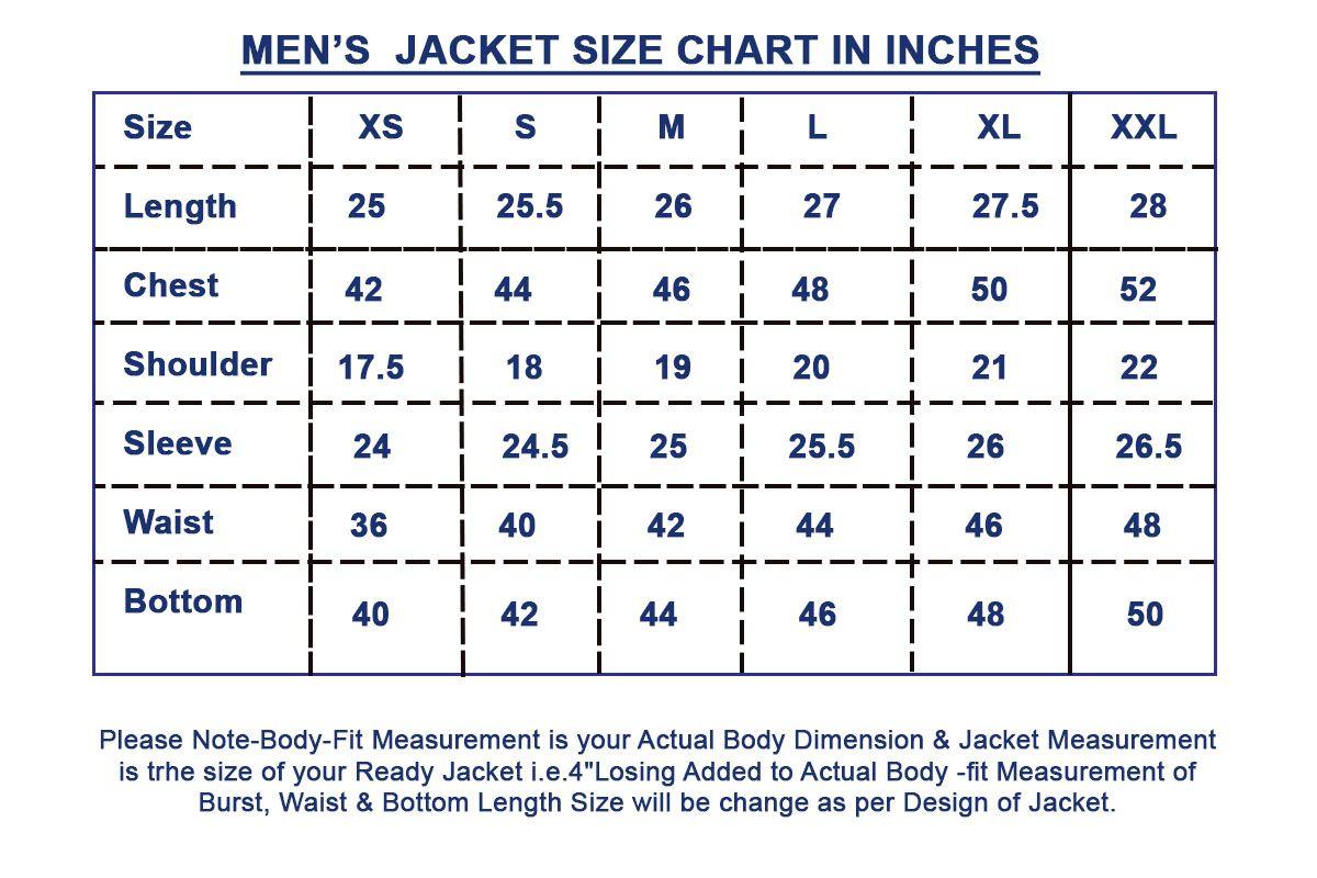 Men S Coat Size Chart In 2020 Men S Coat Gothic Jackets Gothic Jackets Mens
