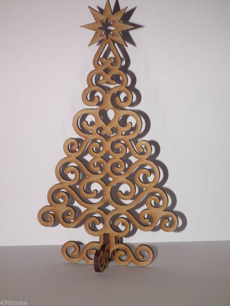 Laser Cut Christmas Tree Decoration Gift Xmas Plain Wood Craft Shape - wood christmas decorations