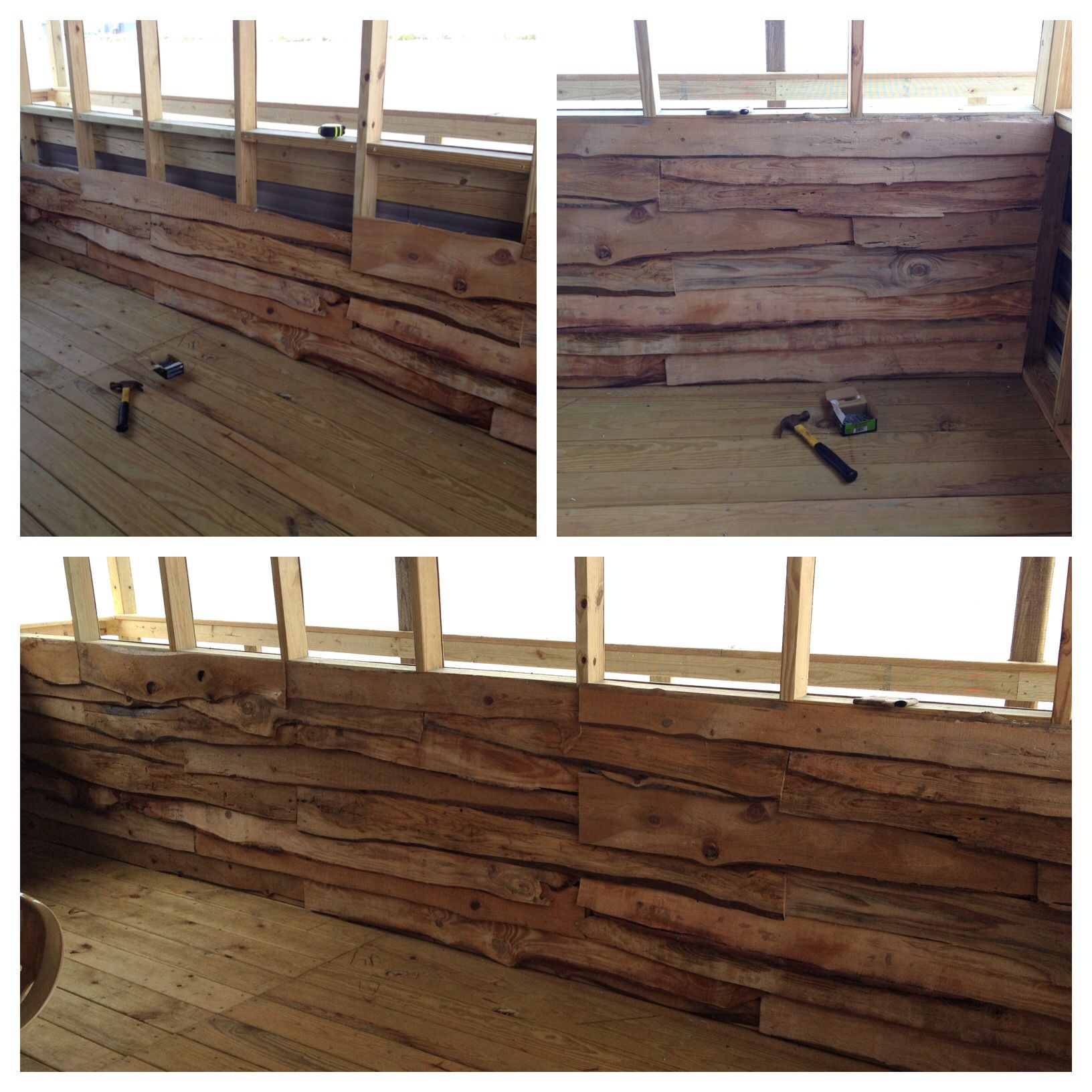 Screened Patio Inside Walls, Rough Cut Lumber, Upcycling Old Wood, Camp  Patio