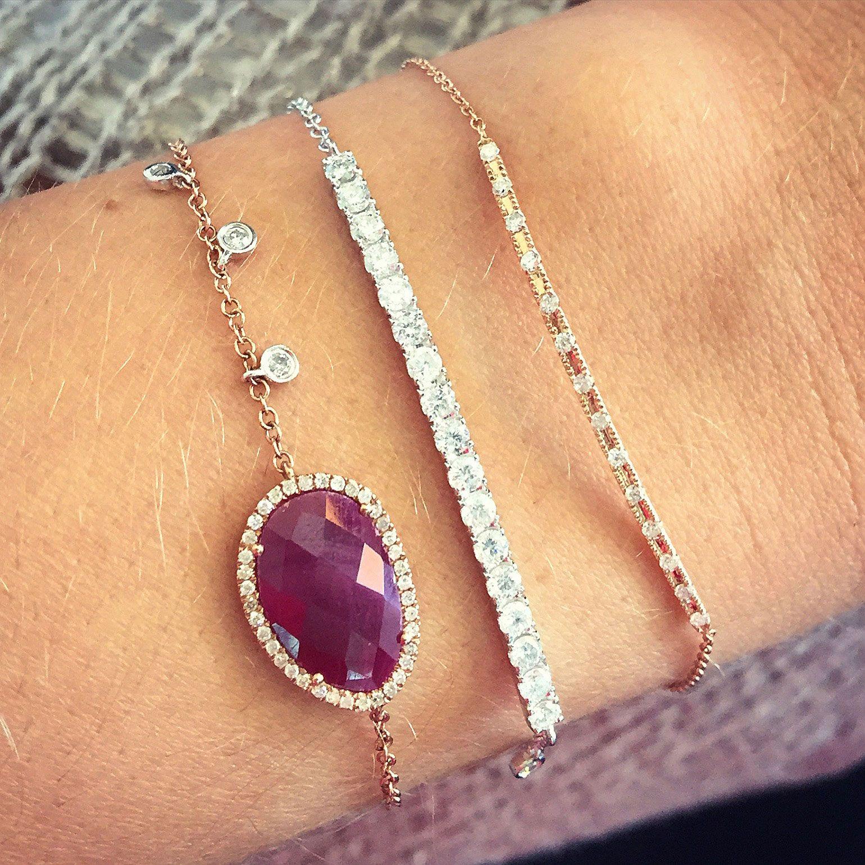 14k Rose Gold Ruby Diamond Bracelet