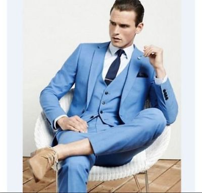 2017 Sky Blue Best man Suit Notch Lapel Groomsman Men Wedding Prom ...