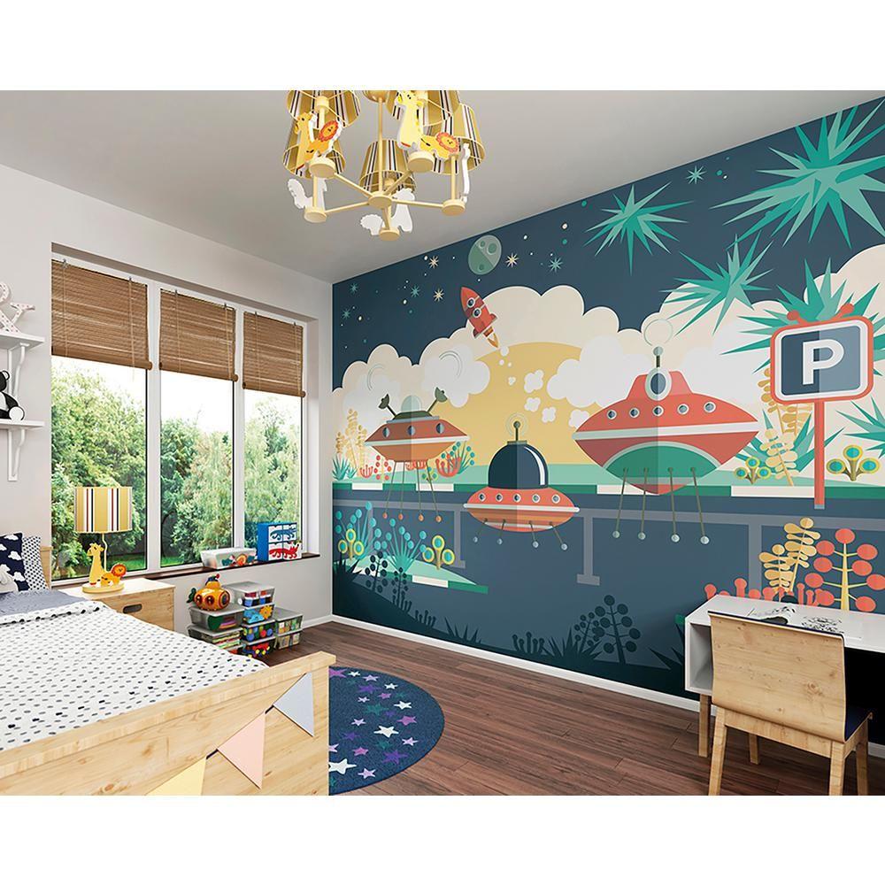 Brewster Wallcovering Spaceship Carpark Wall Mural Kids