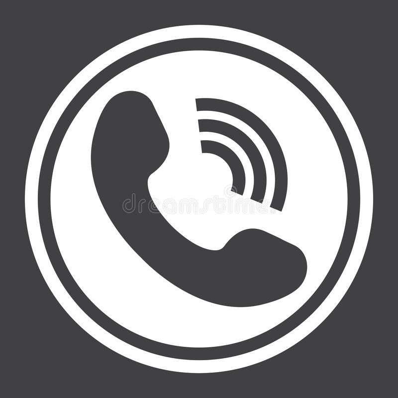 Phone Call Solid Icon Contact Us And Website Button Vector