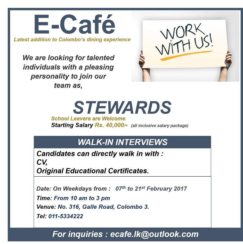 Stewards at E-Cafe | Career First | school leavers jobs