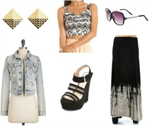 Style remix maxi skirt black and white