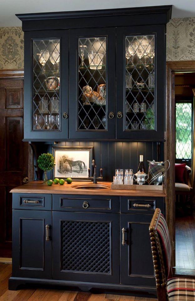 Awe Inspiring Wood Mode Hermit Home Black Kitchens Kitchen Hutch Cabinet Interior Design Ideas Helimdqseriescom