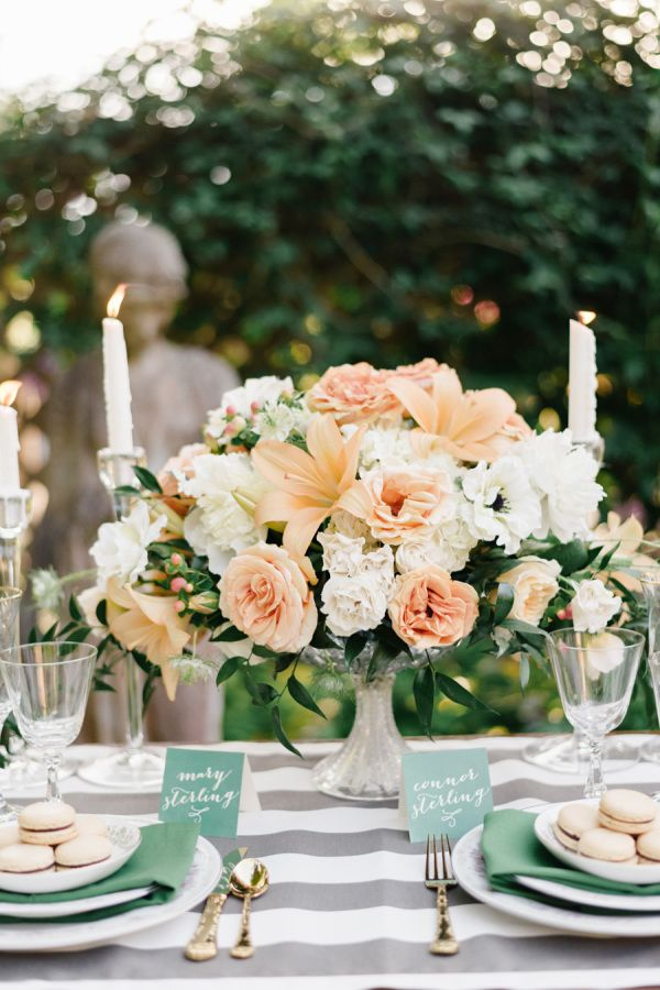 Chic teal & stripe place setting: http://www.stylemepretty.com/2014/12/03/french-elegance-wedding-inspiration/ | Photography: Joe Patience - http://joeandpatience.com/