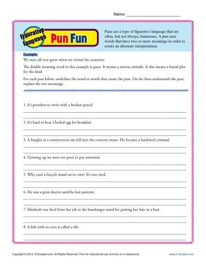 Figurative Language Pun Fun K12 Pinterest Worksheets