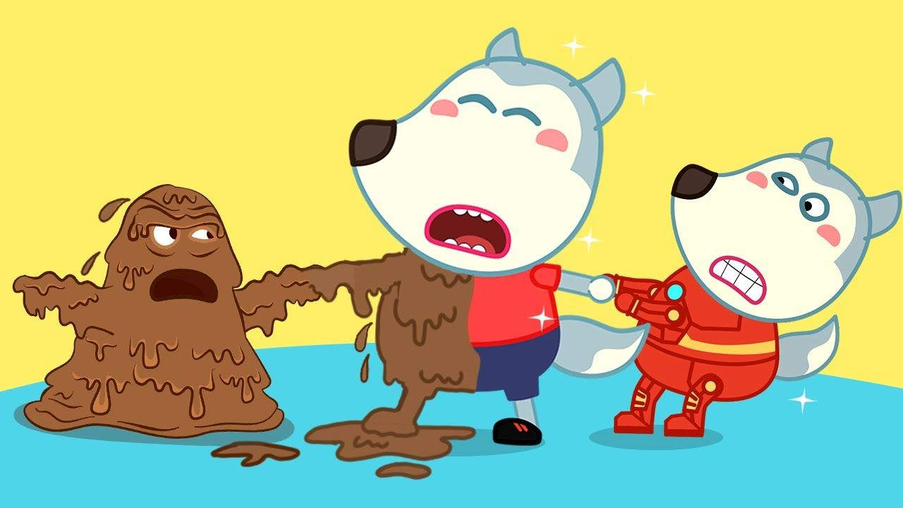 Wolf family WOLFOO ANNOYING MUD PLAYING Funny cartoon