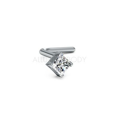 be73345ad 2mm Princess Diamond Nose Stud | hair | Diamond nose stud, Nose stud ...
