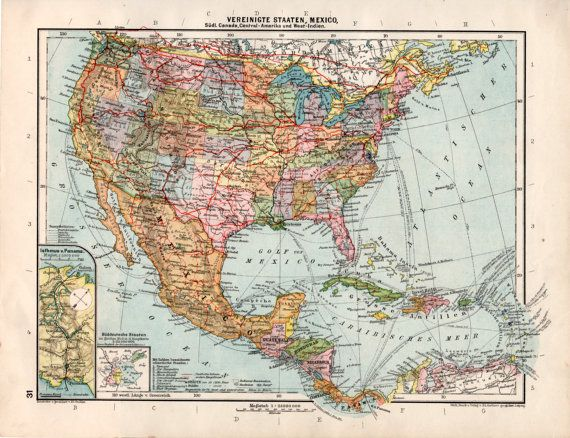 1926 United States Old Map Mexico Guatemala Costa Rica Panama: Old Mexico Map At Infoasik.co