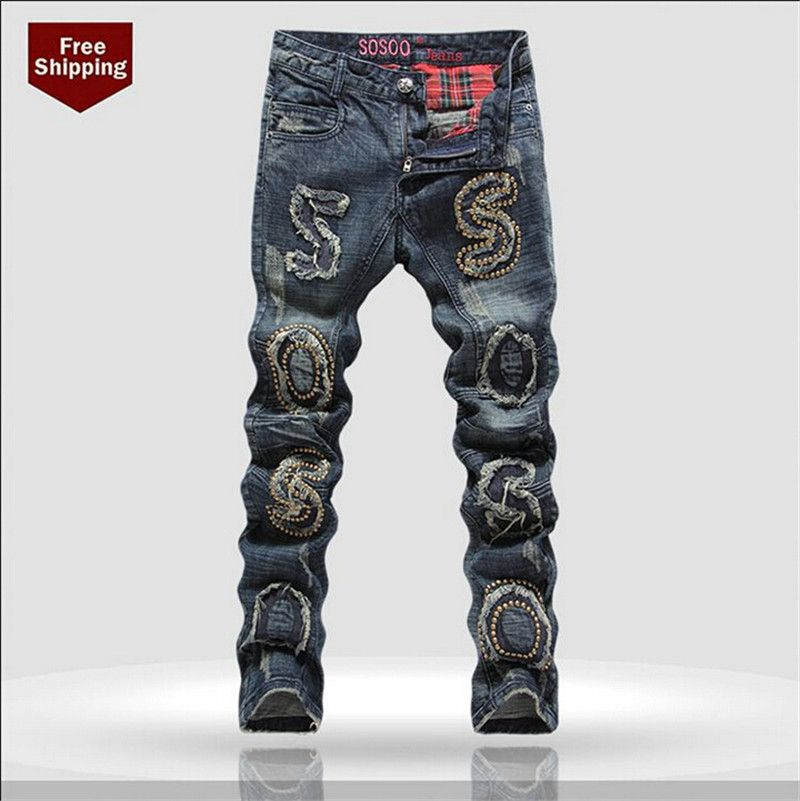 Hot Sale Brand Ripped Jeans Men Fashion Jeans Slim Fit jeans Skinny Printed  Jeans Plus Size