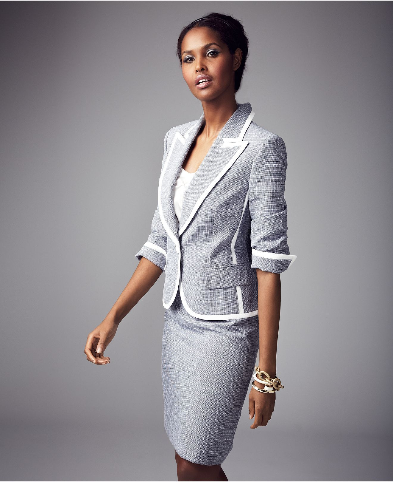 Evan Picone Suit Single Button Tweed Jacket Pencil Skirt Womens
