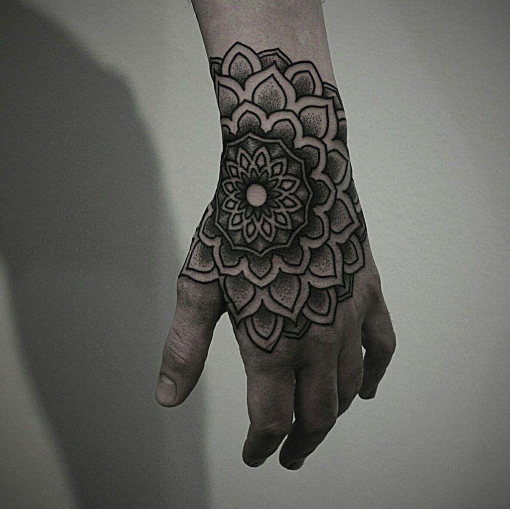 Beautiful Mandala On The Left Hand Mandala Hand Tattoos Skull Hand Tattoo Hand Tattoos For Guys