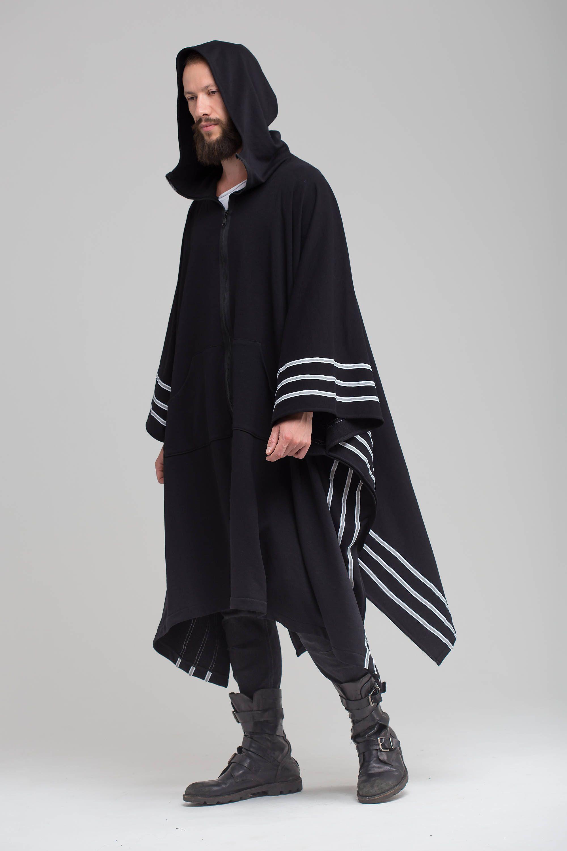 Black Poncho Cape , Kimono Coat Urban Hooded Jacket Man ...