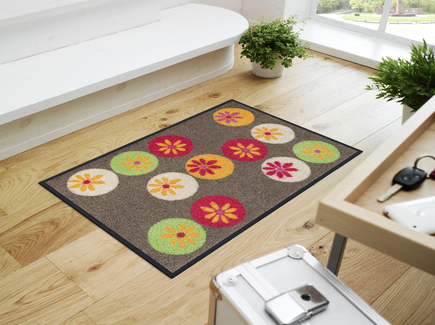 Fussmatte Dots Flowers Taupe Fussmatte Rund Ums Haus Ideen