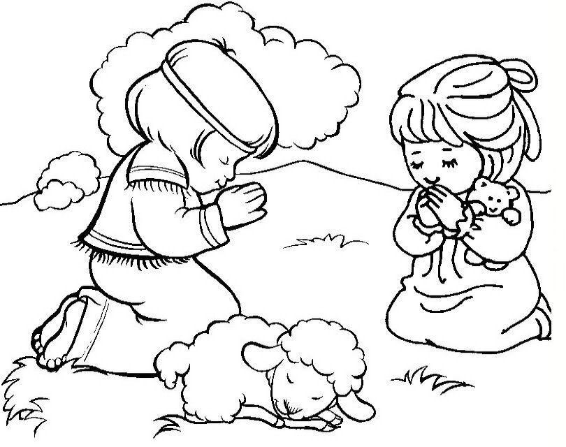 Paisajes Biblicos Para Colorear Nino Orando Paginas Para